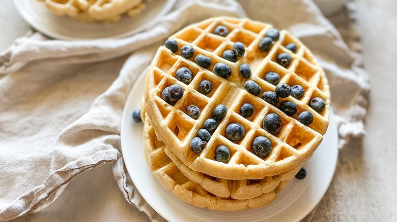 stack of blueberry waffles