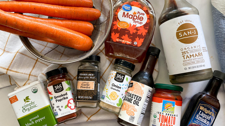 the ingredients for carrot bacon