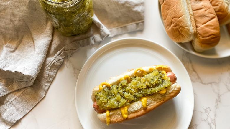 relish on a hot dog