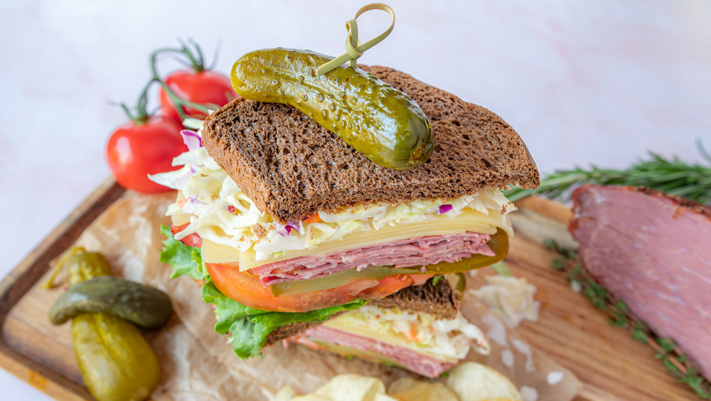 homemade Hot pastrami sandwich