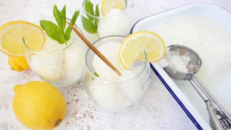 Homemade Lemon Italian Ice in glass