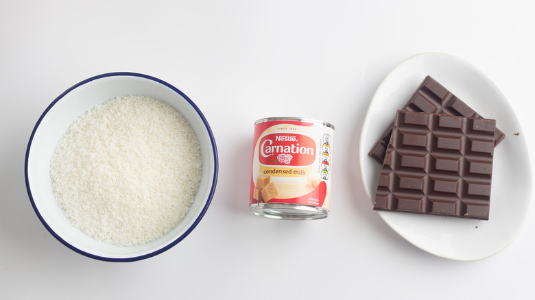 Ingredients for homemade mounds bars