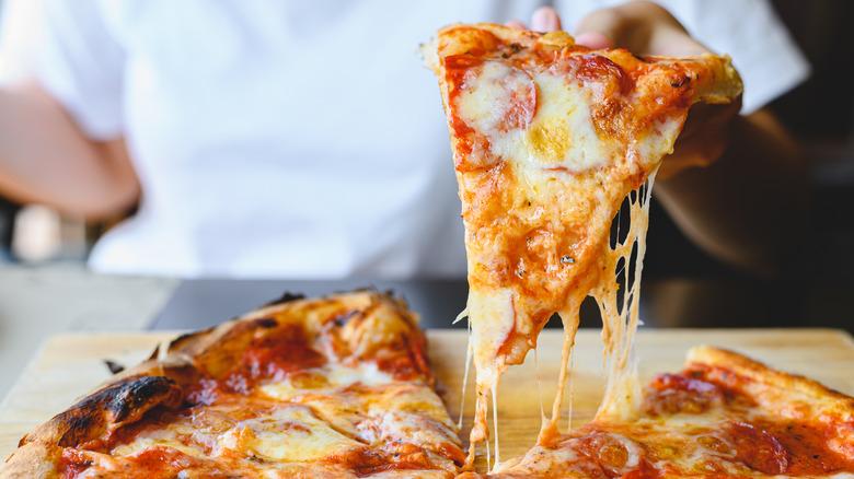 fresh and cheesy pepperoni pizza