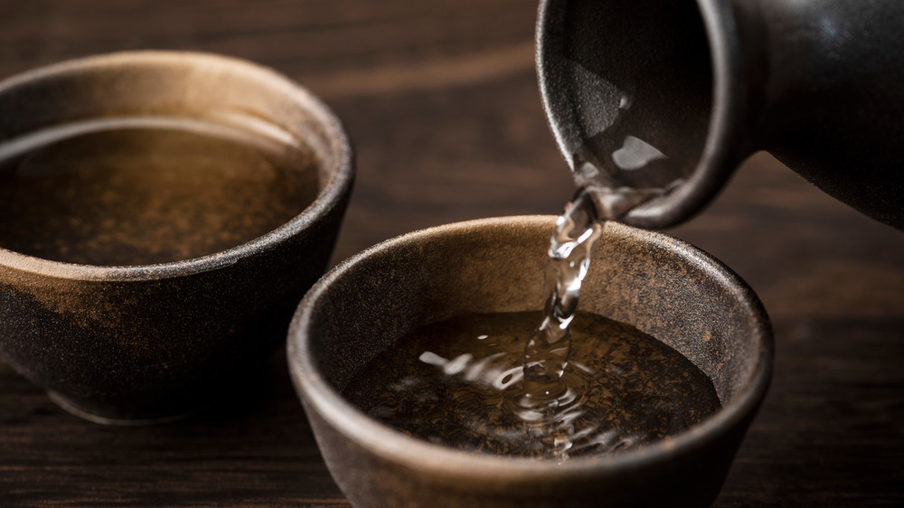 Bowls of rice wine and vinegar