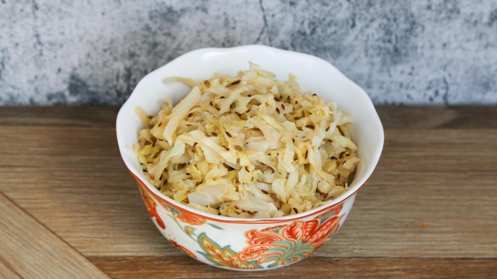homemade sauerkraut in a bowl