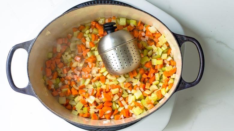 Turkey carcass soup in pot
