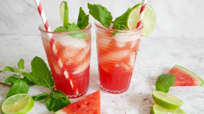 glasses of watermelon lemonade