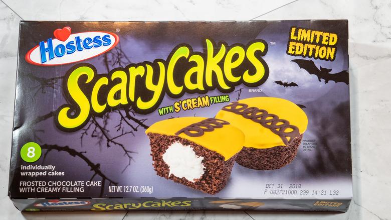 Box of Hostess ScaryCakes on a counter