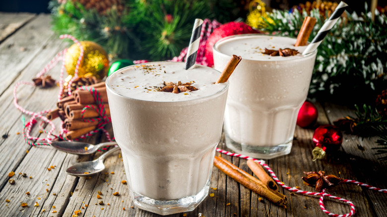 cold homemade eggnog in a glass