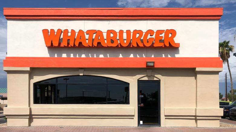 The exterior of a Whataburger restaurant