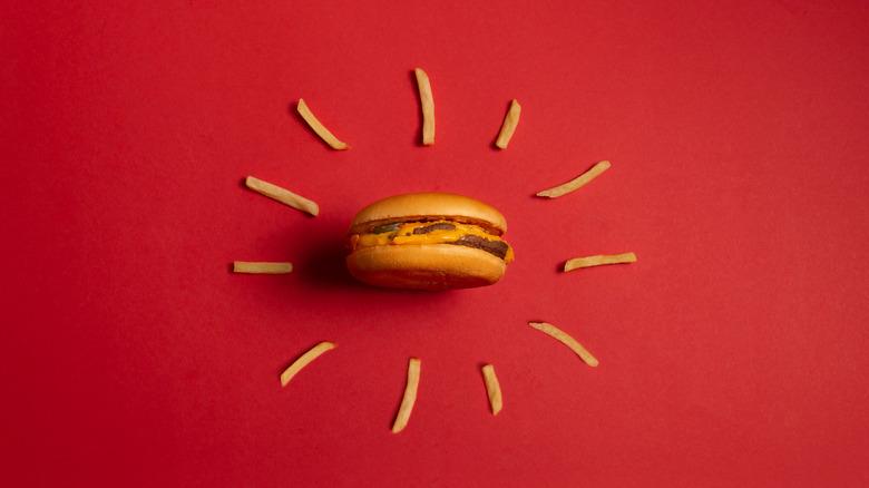 mcdonald's burger encircled by fries