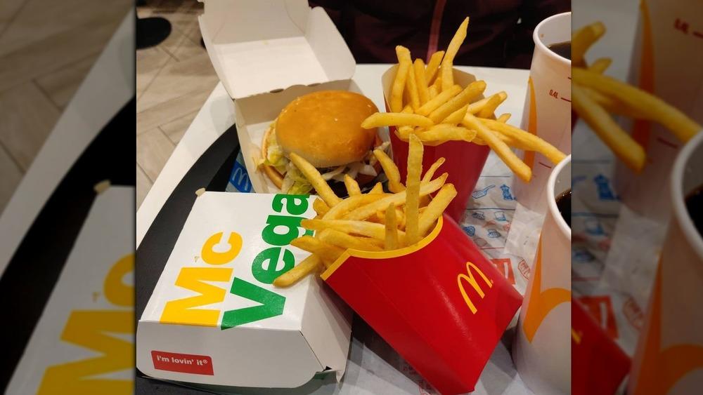 Swedish McVegan burger and fries
