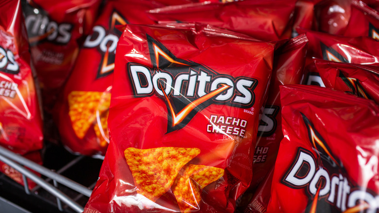 Bags of nacho cheese Doritos
