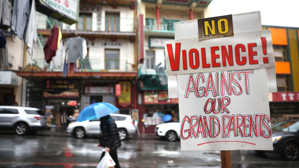 Sign protesting the increase in attacks on Asian Americans