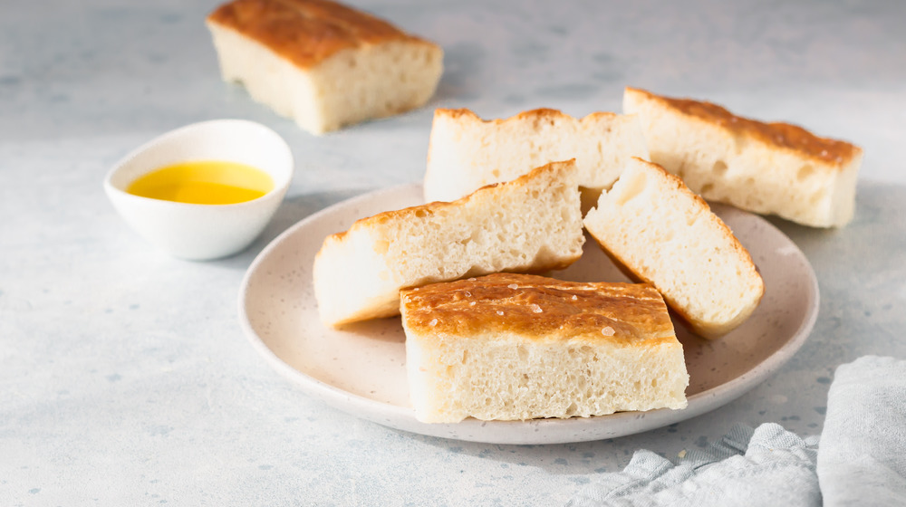 Focaccia on a plate with oil
