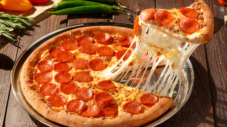 American pizza with sausage and pepperoni