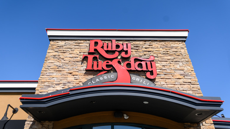 Ruby Tuesday storefront and blue sky