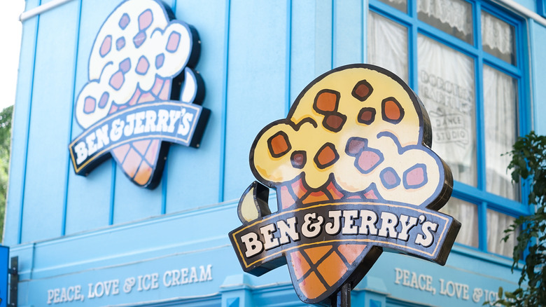 Ben & Jerry's sign on outside of shop
