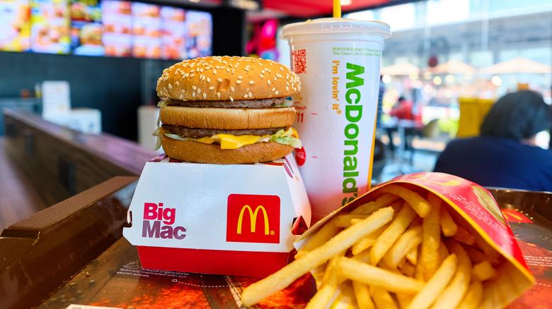 McDonald's Big Mac, fries and drink