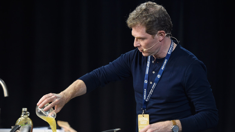 Bobby Flay pouring a cup