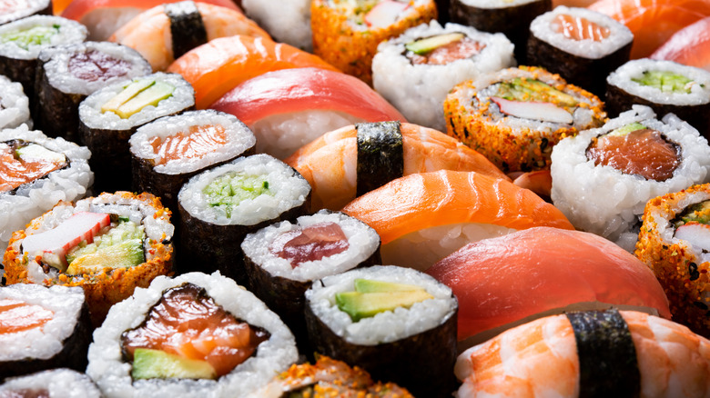 A variety of sushi styles