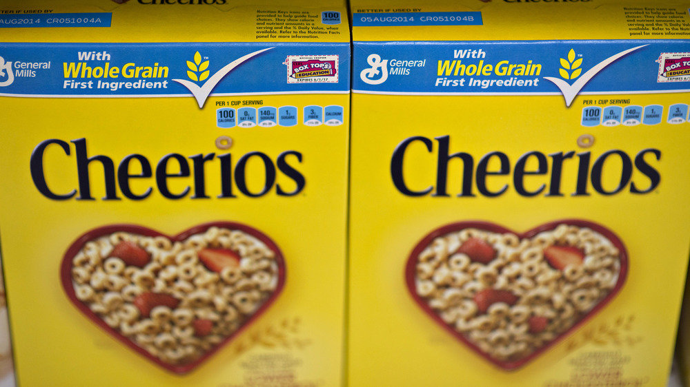 A display of Cheerios boxes