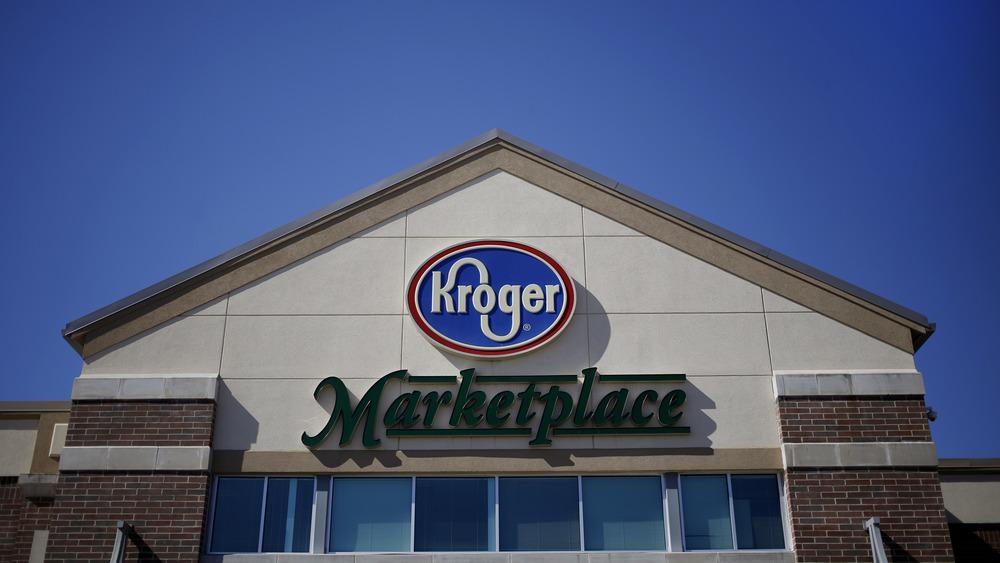 Kroger supermarket against blue sky