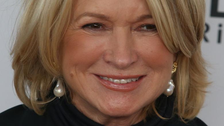 Martha Stewart wearing pearl earrings