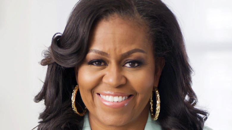 Michelle Obama in gold earrings