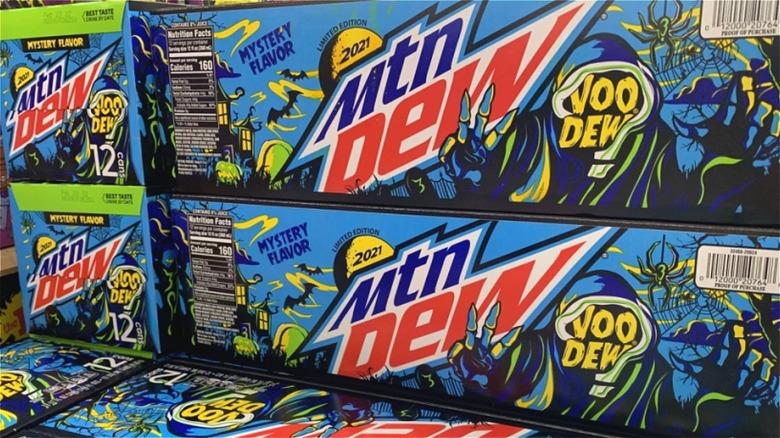 Packs of Mountain Dew's VooDEW Mystery Flavor 2021