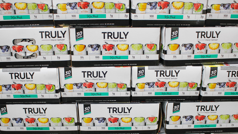 30-packs of Truly on a shelf at a market