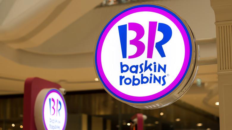 Illuminated pink and blue Baskin-Robbins sign