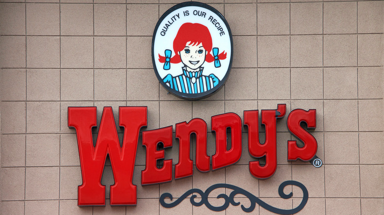 A sign at a Wendy's outlet