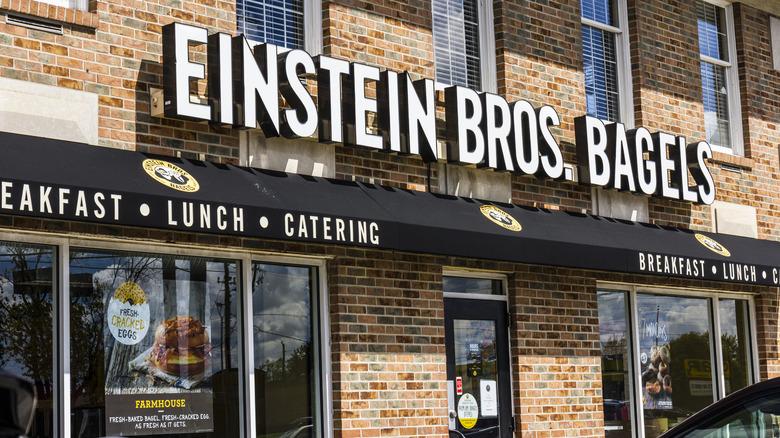 Outside an Einstein Bros. Bagels location