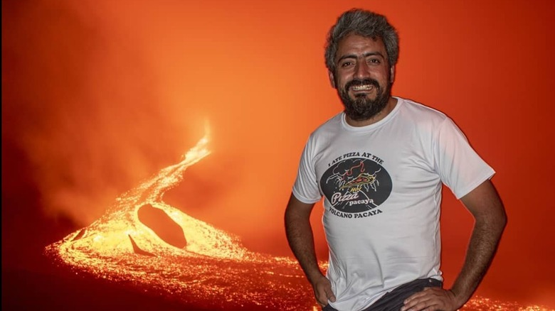 Chef in front of live volcano