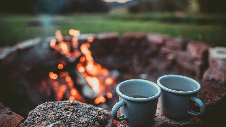 Campfire with coffee
