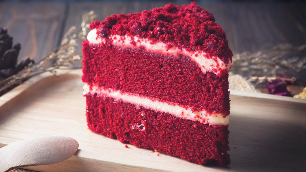 a slice of red velvet cake on a plate