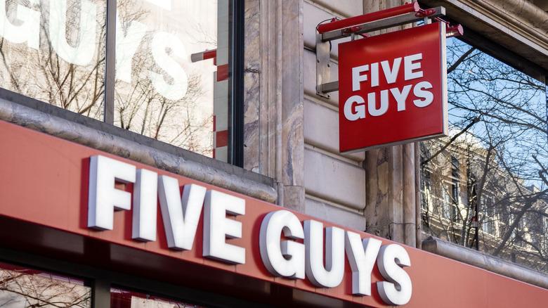 Five Guys restaurant signs logo