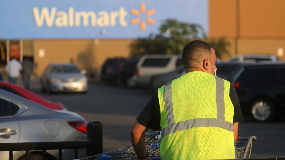 Walmart worker in parking lot