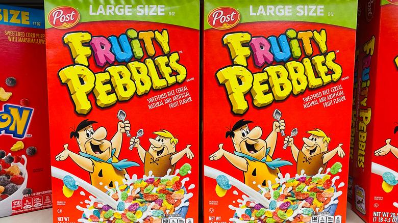 Fruity Pebbles box with Flintstones
