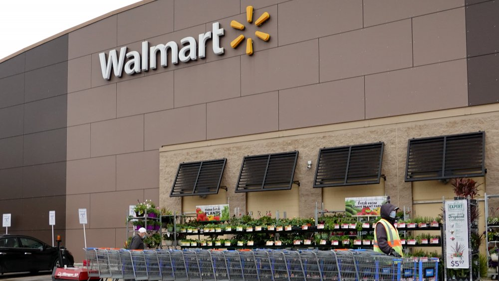 Walmart storefront with carts