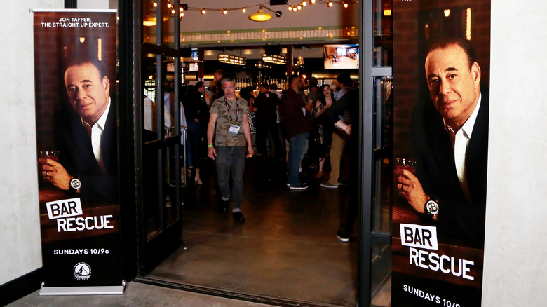 """""""Bar Rescue"""" banners outside bar"""