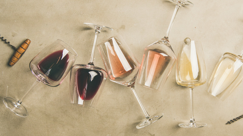 glasses of different colors of wine