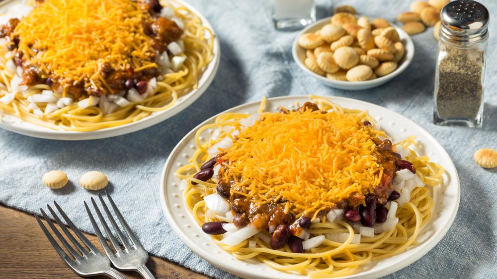 Cincinnati chili with spaghetti