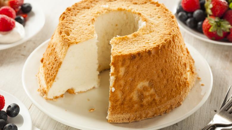 Angel food cake on white plate