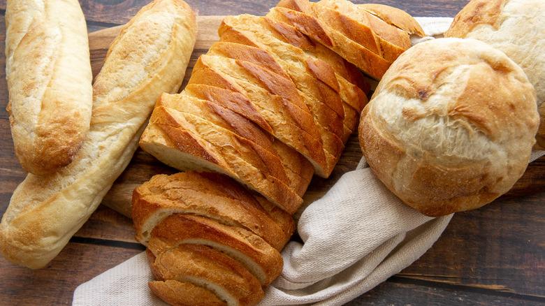 cutting board with bread