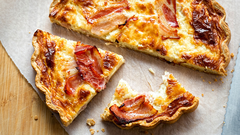 maple cured bacon and cheddar quiche