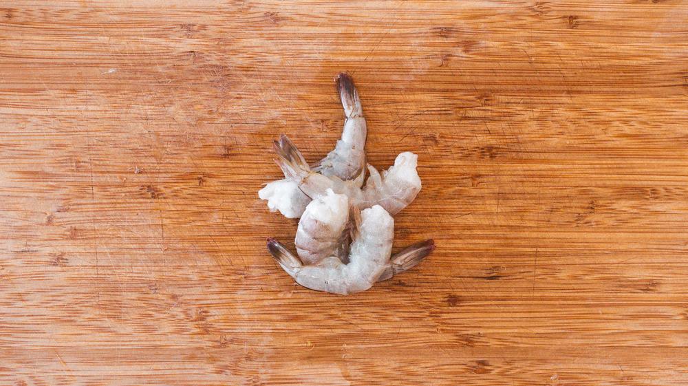 shrimp on cutting board