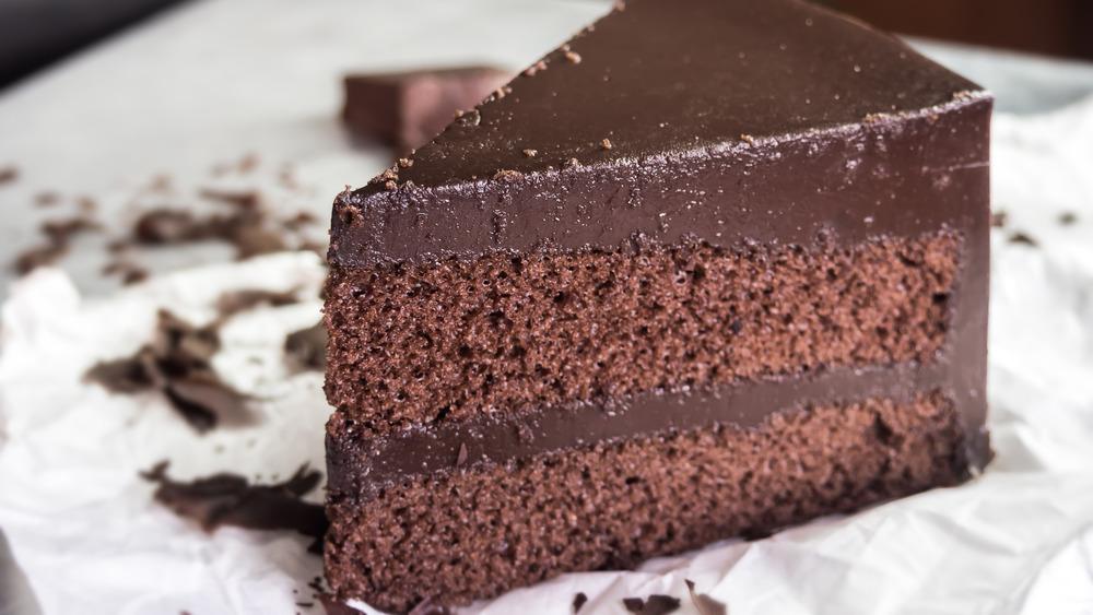 Slice of chocolate mud cake