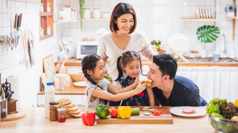 Family eating vegetables